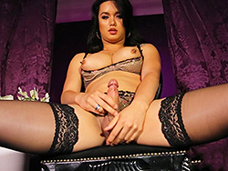 Bianka purple Rock massive Bianka jerks in stockings. Bianka Nascimento.